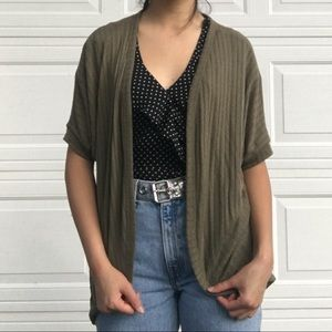 Army green short sleeve cardigan